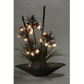 Lighted Crown Flowers and Grasses in Planter