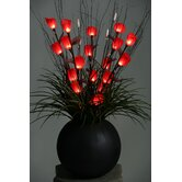 Lighted Tulips in Resin Ball Planter