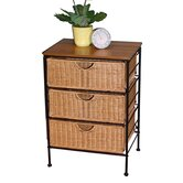3 Drawer Wicker Stand in Wicker and Metal