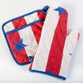 Stars and Stripes Oven and Mitt Potholder Set