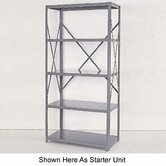 Industrial Clip Open Shelving: Beaded Post Units with 5 Shelf Frames; Adder Unit