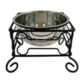 Wrought Iron Stand with Single Stainless Steel Bowl