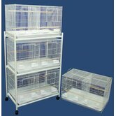 Four Medium Bird Breeding Cages with Divider and One 3 Tier Stand