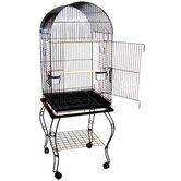 Dome Top Parrot Cage with Stand in Black