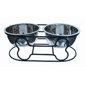 Wrought Iron Stand with Double Stainless Steel  Bowls