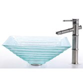 Square Clear Alexandrite Glass Sink and Bamboo Faucet