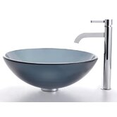 Frosted Black Glass Vessel Sink and Ramus Faucet