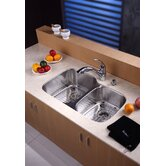 "32"" Undermount 60/40 Double Bowl Kitchen Sink with 11"" Faucet and Soap Dispenser"