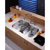 "32"" Undermount 60/40 Double Bowl Kitchen Sink with 14.9"" Faucet and Soap Dispenser"