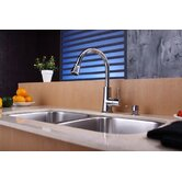 "32"" Undermount 50/50 Double Bowl Kitchen Sink with 14.9"" Faucet and Soap Dispenser"