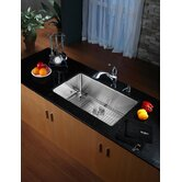 "30"" Undermount Single Bowl Kitchen Sink with 11"" Faucet and Soap Dispenser in Chrome"