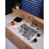 "23"" Undermount Single Bowl Kitchen Sink with 14.9"" Faucet in Chrome and Soap Dispenser"