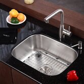 "Stainless Steel Undermount 23"" Single Bowl Kitchen Sink with 13.25"" Kitchen Faucet and Soap Dispenser"