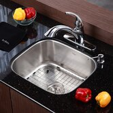 "Stainless Steel Undermount 20"" Single Bowl Kitchen Sink with 11"" Kitchen Faucet and Soap Dispenser"