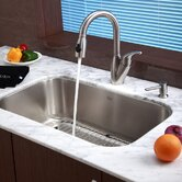 "Stainless Steel Undermount 30"" Single Bowl Kitchen Sink with 14.5"" Kitchen Faucet and Soap Dispenser"