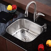 "Stainless Steel Undermount 20"" Single Bowl Kitchen Sink with 14.5"" Kitchen Faucet and Soap Dispenser"