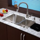 "Stainless Steel Undermount 32"" 70/30 Double Bowl Kitchen Sink with Kitchen Faucet and Soap Dispenser"