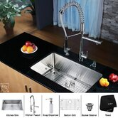 30 inch Undermount Single Bowl Stainless Steel Kitchen Sink with Chrome Kitchen Faucet and Soap Dispenser
