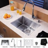 "23"" Undermount Single Bowl Kitchen Sink with 18.5"" Faucet in Chrome and Soap Dispenser"
