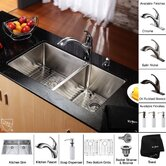 33 inch Undermount 70/30 Double Bowl 16 gauge Stainless Steel Kitchen Sink