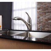 One Handle Single Hole Pull Out Kitchen Faucet with Soap Dispenser