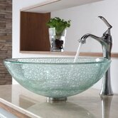 Broken Glass Vessel Sink and Single Hole Faucet with Single Handle