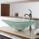 Clear Alexandrite Glass Vessel Sink and Single Hole Faucet with Single Handle