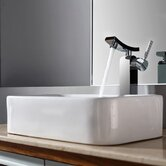 Combos Rectangular Ceramic Sink and Single Hole Faucet with Single Hande