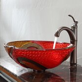 Copper Snake Glass Vessel Sink and Riviera Faucet