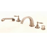 Mediterranean Double Handle Thermostatic Roman Tub Faucet with Hand Shower