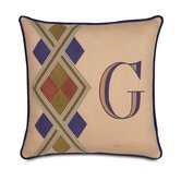 Pinkerton Eli Polyester Hand Painted Monogram Decorative Pillow