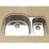 Medallion Designer Undermount Large Double Bowl Kitchen Sink in Satin