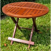Acacia Patio Checkerboard Round Folding Side Table