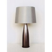 Val Table Lamp in Smoke with Platinum Silk Shade