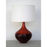 Horizon Kiss Table Lamp in Raku with White Linen Shade