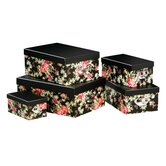 Storage Boxes Red Rose with ID Tag and Handle (Set of 5)