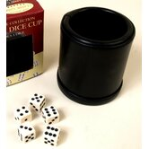 Leather Dice Cup with Five Dice