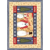 Winter Seasonal Holiday Frosty and Family Novelty Rug