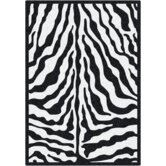Black & White Zebra Glam Black Ink Rug