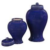 Ceramic Jar with Lids in Cobalt Blue Glaze (Set of 2)