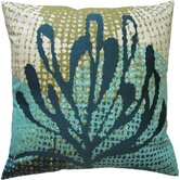 "Ecco 20"" x 20"" Embroidered Pillow with Blue Leaf"
