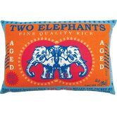 "Rice 13"" x 20"" Pillow with Two Elephants Print"