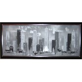 "Hand Painted Skyline Canvas Art - 16"" X 40"""
