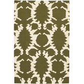 Flat-weave Dhurrie Green/Cream Flock Rug