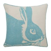 Bunny Linen Pillow in Aqua