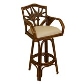 "Cancun Palm Indoor Swivel Rattan 30"" Bar Stool in Dark Finish"