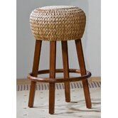 "Seagrass Indoor Rattan 30"" Stationary Bar Stool in Honey Finish"