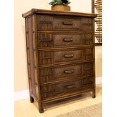 Polynesian 5 Drawer Chest