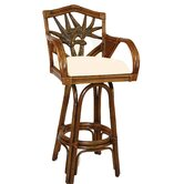 Cancun Palm Indoor Swivel Bar Stool with Cushion