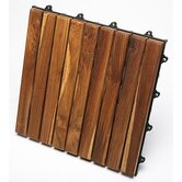Le Click Exclusive Teak Interlocking Decking Tiles in Oiled Finish (Set of 10)